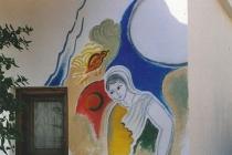 Fresco on the outside wall of a villa. Neochori ( Greece) 2002
