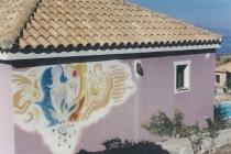 Fresco on the outside wall of a villa. Neochori ( Greece) 2003