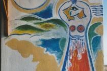 Fresco on the outside wall of a villa. Neochori ( Greece) 2004