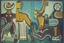 Oil painting on iron - Le Porte del Mediterraneo - Bari 1997